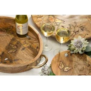 Ashley Furniture The Gerson Company Mango Wood With Laser Butterfly Design Round Trivet, Brown