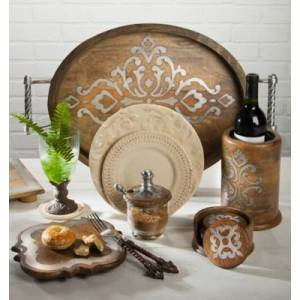 Ashley Furniture The Gerson Company 5-inch Diameter Wood And Metal Heritage Collection Coasters With Wooden Holder, Brown