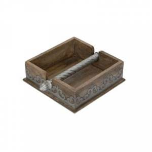 Ashley Furniture The Gerson Company Wood And Metal Inlay Heritage Collection 7-inch Square Napkin Holder, Brown