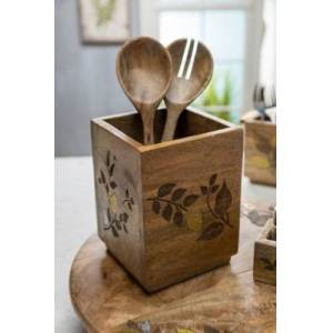 Ashley Furniture The Gerson Company Mango Wood With Laser And Metal Inlay Leaf Design Utensil Holder, Brown