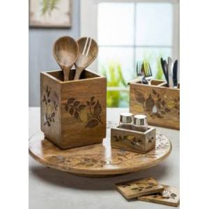Ashley Furniture The Gerson Company Mango Wood With Laser And Metal Inlay Leaf Design 6-pc Coaster Set In Wood Base, Brown