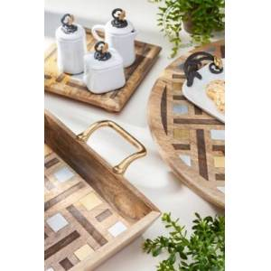 Ashley Furniture The Gerson Company Mango Wood With Laser And Metal Inlay Weave Design Lazy Susan, Brown