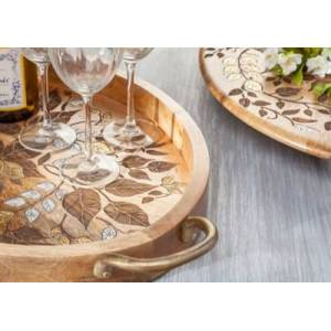 Ashley Furniture The Gerson Company Mango Wood With Laser And Metal Inlay Leaf Design Lazy Susan, Brown
