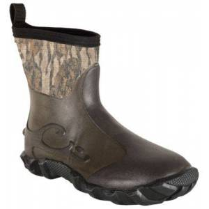 Drake Waterfowl Systems Mid-Top Mudder 2.0 Rubber Boots for Men - Mossy Oak Bottomland - 9M
