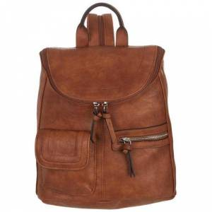 Bueno Rustego Solid Faux Leather Backpack -Brown