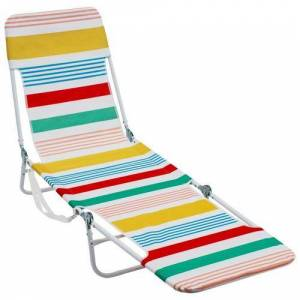Rio Striped Backpack Lounge Beach Chair -Blue/Red/White/Yellow