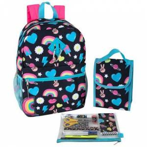 AD Sutton Rainbow Peace Heart Backpack Set -Black/Blue/Pink