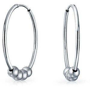 BLING Sterling Silver Bead Ball Hoop Earrings -Grey