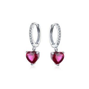 BLING Sterling Silver Ruby Heart Huggie Hoops -Grey