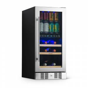 """NewAir 15"""" Premium Built-In Dual Zone 9-Bottle and 48-Can Wine and Beverage Fridge, Stainless Steel"""