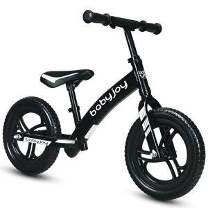 "Costway 12"" Kids No-Pedal Balance Bike with Adjustable Seat-Black"