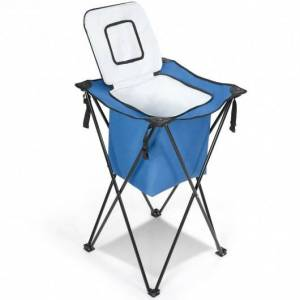 Costway Portable Tub Cooler with Folding Stand and Carry Bag-Blue