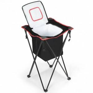 Costway Portable Tub Cooler with Folding Stand and Carry Bag-Black