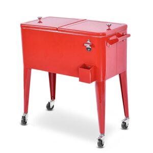 Costway Red Portable Outdoor Patio Cooler Cart