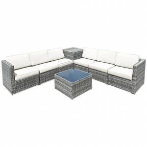 8 Piece Wicker Sofa Rattan Dinning Set Patio Furniture with Storage Table-White