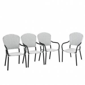 Costway Set of 4 Patio Rattan Stackable Dining Chair with Armrest for Garden-White