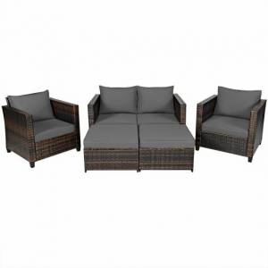 Costway 5 Pieces Patio Cushioned Rattan Furniture Set-Gray