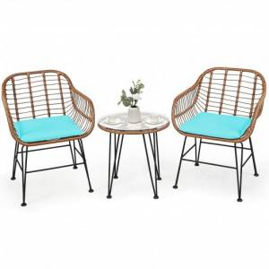 Costway 3 Pcs Patio Rattan Bistro Set with Cushion-Turquoise