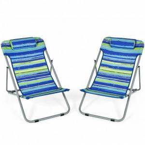 Costway Portable Beach Chair Set of 2 with Headrest -Blue
