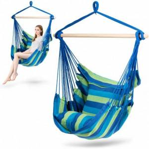 4 Color Deluxe Hammock Rope Chair Porch Yard Tree Hanging Air Swing Outdoor-Blue and Green
