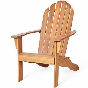 Costway Wooden Outdoor Lounge Chair with Ergonomic Design for Yard and Garden-Natural