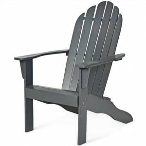 Costway Wooden Outdoor Lounge Chair with Ergonomic Design for Yard and Garden-Gray