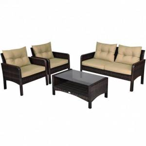 Costway 4 pcs Patio Rattan Free Combination Sofa Set with Cushion and Coffee Table