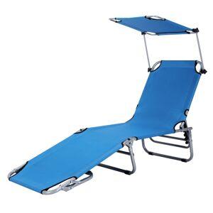 Costway Adjustable Outdoor Beach Patio Pool Recliner with Sun Shade-Navy