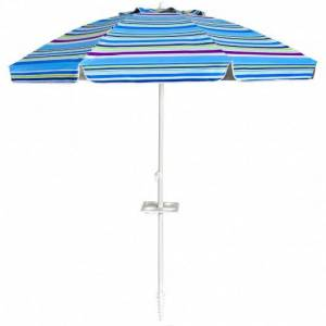 7.2 FT Portable Outdoor Beach Umbrella with Sand Anchor and Tilt Mechanism for Poolside and Garden-Blue