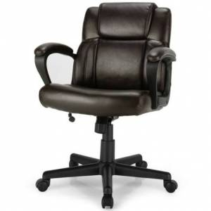 Costway Adjustable Leather Executive Office Chair Computer Desk Chair with Armrest
