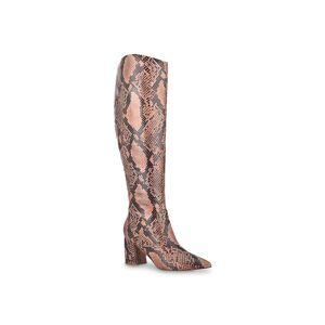 Marc Fisher Retie 2 Boot   Women's   Light Brown/Black Snake Print   Size 5.5   Boots   Block
