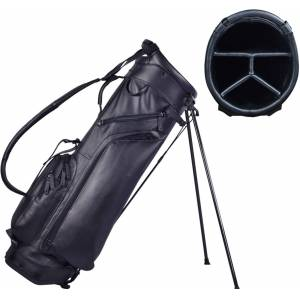 Mountain Men's Leather Stand Golf Bag, Black