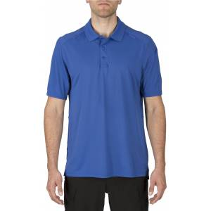 5.11 Tactical Men's Helios Short Sleeve Polo, Large, Academy Blue