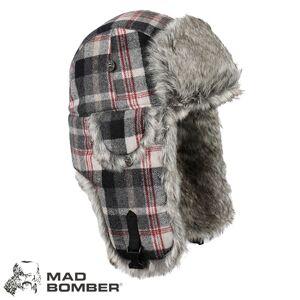 Mad Bomber Wool Bomber Hat (L)- Black & Grey Plaid/Gry Faux Fur