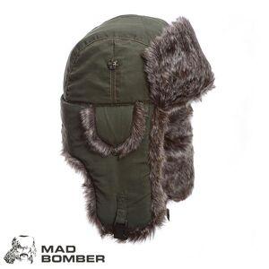 Mad Bomber Supplex Bomber Hat (L)- Olv/Brn Faux Fur