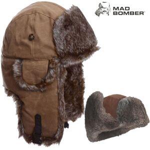 Mad Bomber Waxed Bomber Hat (XL)- Khk/Brn Faux Fur