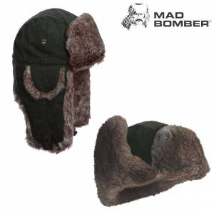 Mad Bomber Waxed Bomber Hat (L)- Moss/Brn Faux Fur
