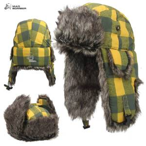Mad Bomber Bomber Hat (L)- Green & Yellow Plaid/Brn Faux Fur