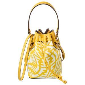 FENDI Mon Tresor Mini FF Vertigo Canvas & Leather Bucket Bag - Yellow