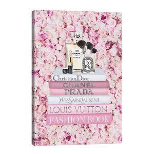 iCanvas Blush Fashion Books On Pink Flower Wall Wall Art  by Amanda Greenwood - Size: 40x26