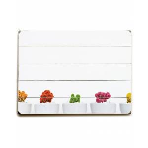 """One Bella Casa Cactus Row White Planked Wood Wall Decor By OBC - Size: 18"""" x 24"""""""