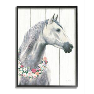 """Stupell Spirit Stallion Horse With Flower Wreath Framed Art Framed Art - Size: 16"""" x 20"""""""