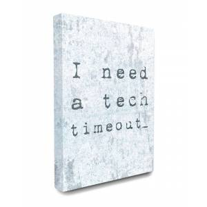 """Stupell Need a Tech Timeout Distressed Blue Typography - Size: 24"""" x 30"""""""