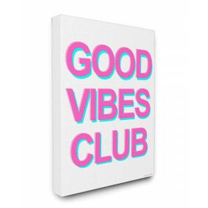 """Stupell GOOD VIBES Neon Typography Stretched Canvas Wall Art by lulusimonSTUDIO - Size: 24"""" x 30"""""""