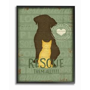 """Stupell Rescue Them All Dog And Cat Silhouette by Jennifer Pugh Framed Art - Size: 11"""" x 2"""" x 14"""""""