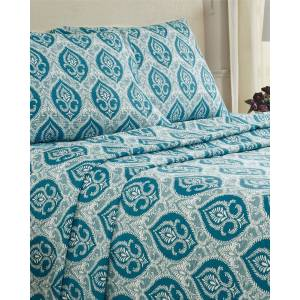 Superior Flannel Fleur De Lis Sheet Set - Teal - Size: Twin XL