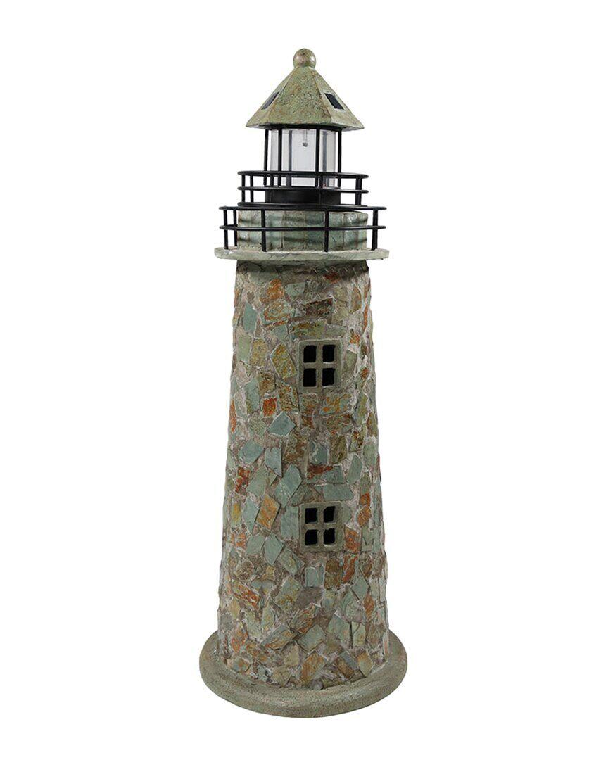 Sunnydaze Outdoor Garden Solar LED Cobblestone Lighthouse Statue Decor - Grey