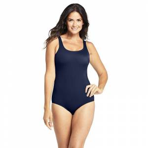 Women's Lands' End Tugless Bust-Minimizer Chlorine Resistant One-Piece Swimsuit, Size: 14, Dark Blue