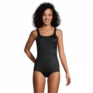 Women's Lands' End Tugless Sporty Bust-Minimizer One-Piece Swimsuit, Size: 14, Black