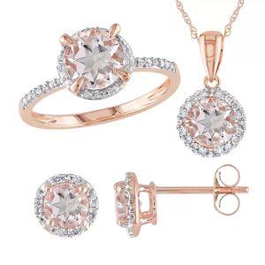 Stella Grace 10k Rose Gold 1/5 Carat T.W. Diamond & Morganite 3-Piece Ring, Earring & Pendant Set, Women's, Pink - Size: 5
